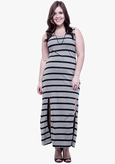 CURVE Split Striped Maxi Dress