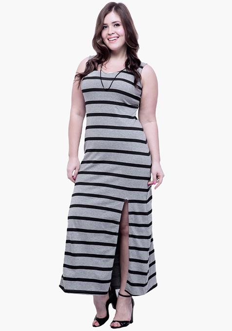CURVE Split Striped Maxi Dress