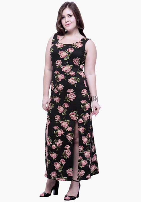 CURVE Rosy Nights Split Maxi Dress