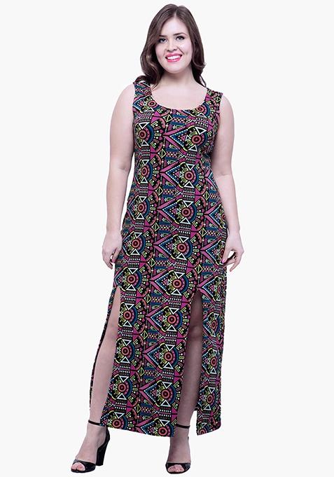 CURVE Aztec Split Maxi Dress