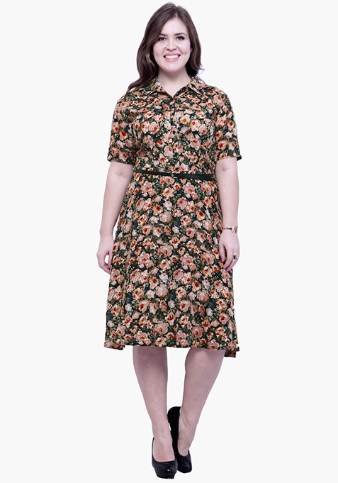 CURVE Fit & Flare Floral Shirt Dress