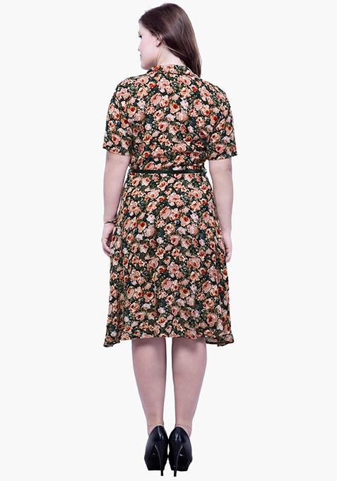 CURVE Fit & Flare Floral Shirt Dress