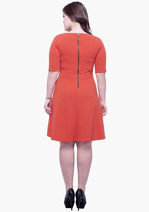 CURVE Go Glam Skater Dress - Coral