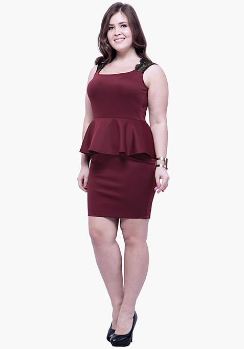 CURVE Lacy Back Peplum Dress - Oxblood