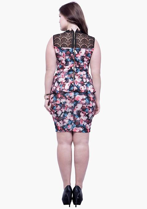CURVE Lacy Back Peplum Dress - Floral