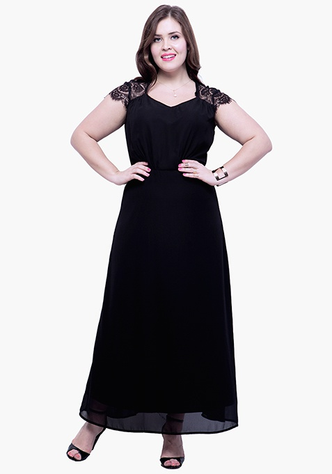 CURVE Lace Trace Maxi Dress - Black
