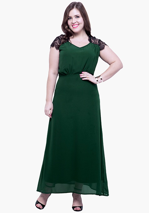CURVE Lace Trace Maxi Dress - Green