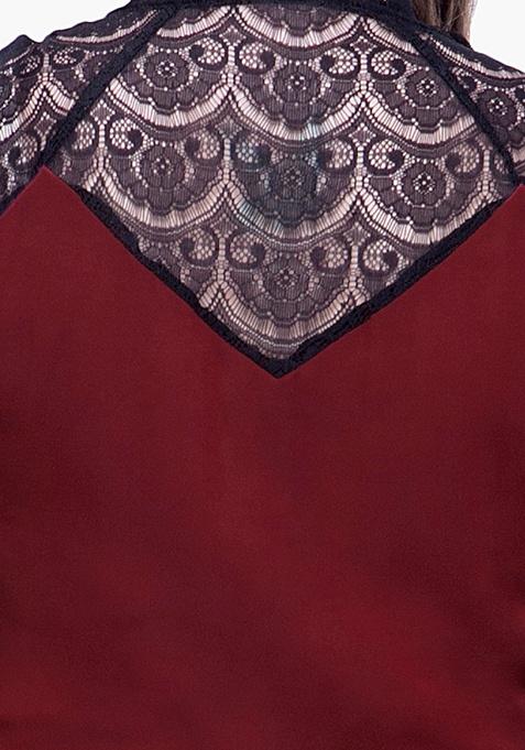 CURVE Lace Trace Maxi Dress - Oxblood