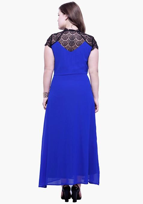 CURVE Lace Trace Maxi Dress - Blue