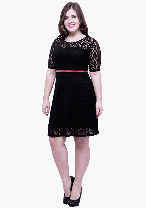 CURVE Lace Delight Skater Dress - Black