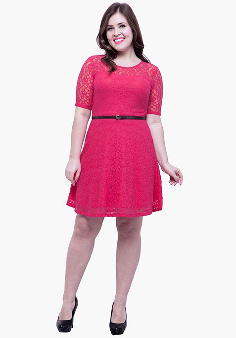 CURVE Lace Delight Skater Dress - Pink