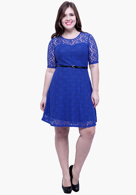 CURVE Lace Delight Skater Dress - Blue