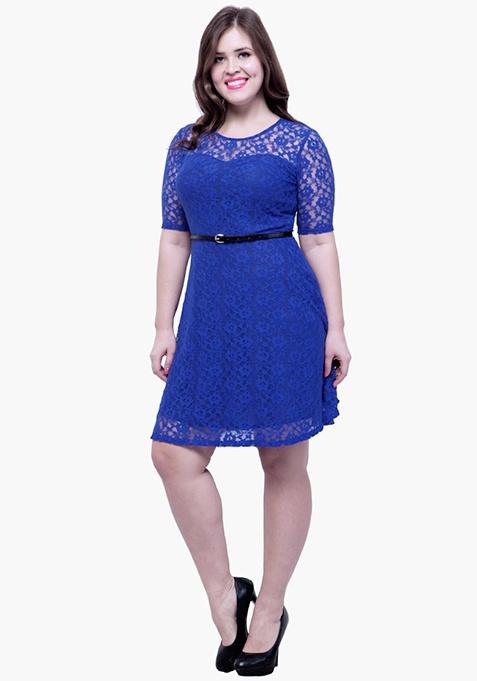 CURVE Lace Delight Skater Dress - Blue
