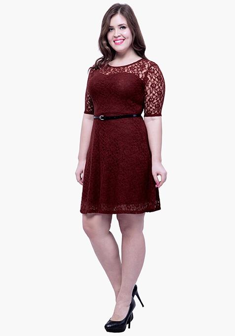 CURVE Lace Delight Skater Dress - Oxblood