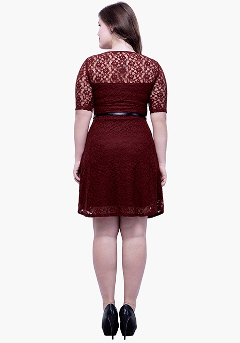 CURVE Lace Delight Skater Dress - Oxblood