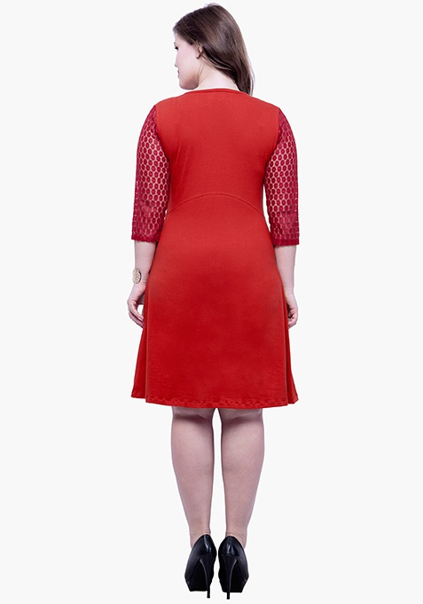 CURVE Lace Mire Skater Dress - Red