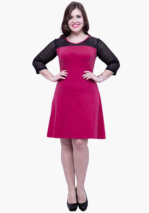CURVE Lace Mire Skater Dress - Pink
