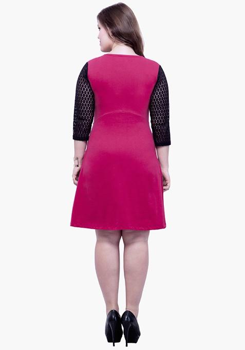 CURVE Lace Mire Skater Dress - Pink