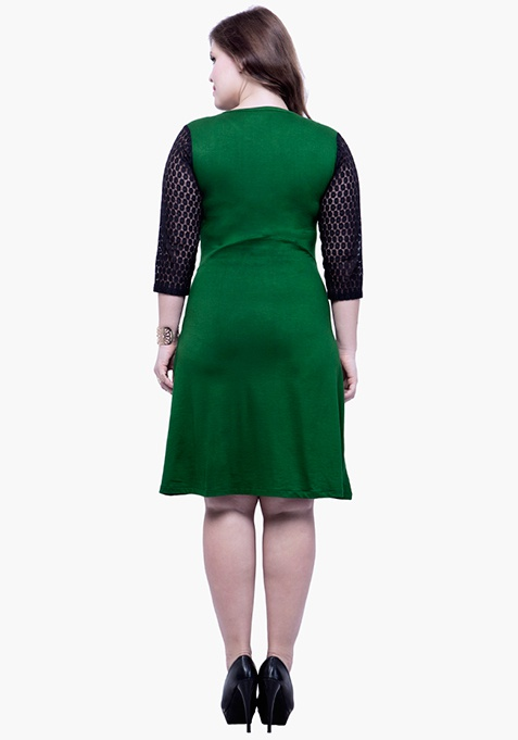 CURVE Lace Mire Skater Dress - Green
