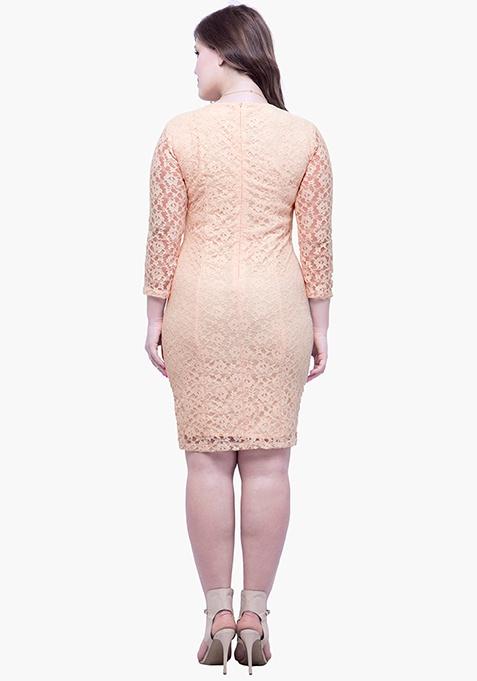 CURVE Lace Love Bodycon Dress - Beige