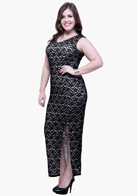 CURVE Lace Much Maxi Dress – Black