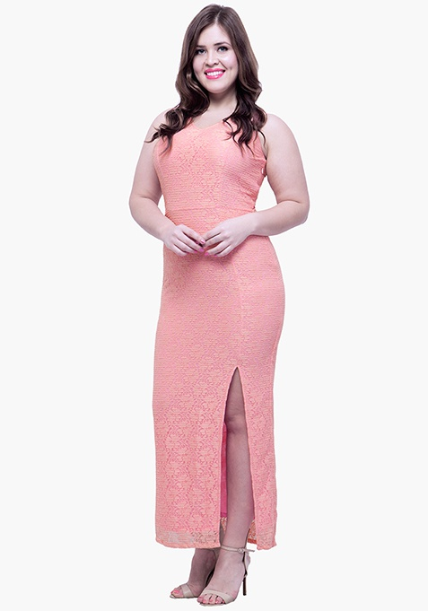 CURVE Lace Much Maxi Dress - Pink