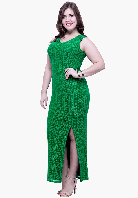 CURVE Lace Much Maxi Dress - Green