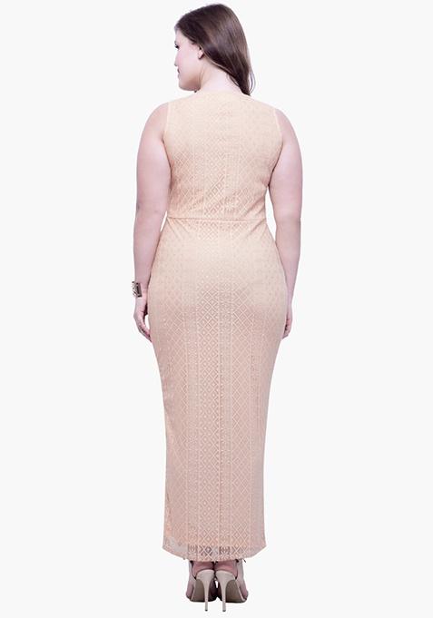 CURVE Lace Much Maxi Dress - Beige
