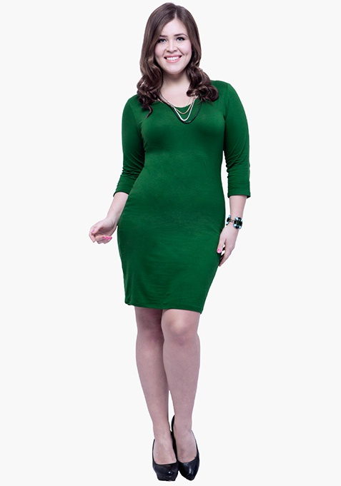 CURVE Basic Grace Bodycon Dress – Green