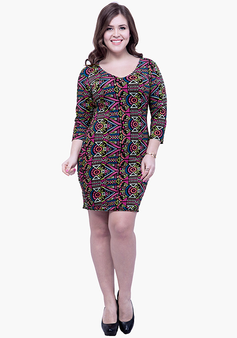 CURVE Basic Grace Bodycon Dress - Aztec
