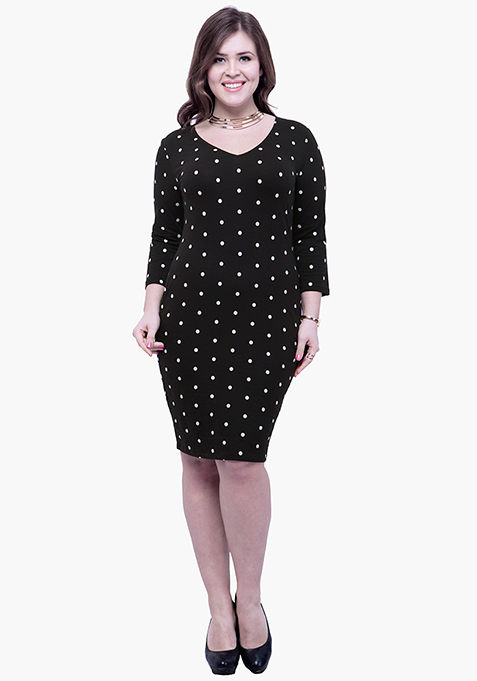 CURVE Basic Grace Bodycon Dress - Polka