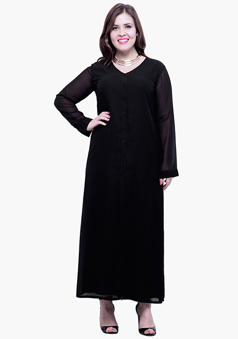 CURVE Button Down Maxi Dress - Black