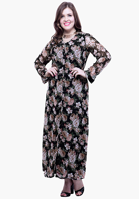 CURVE Button Down Maxi Dress - Dusk Floral