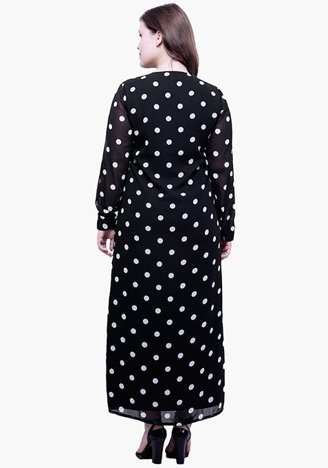 CURVE Button Down Maxi Dress - Polka