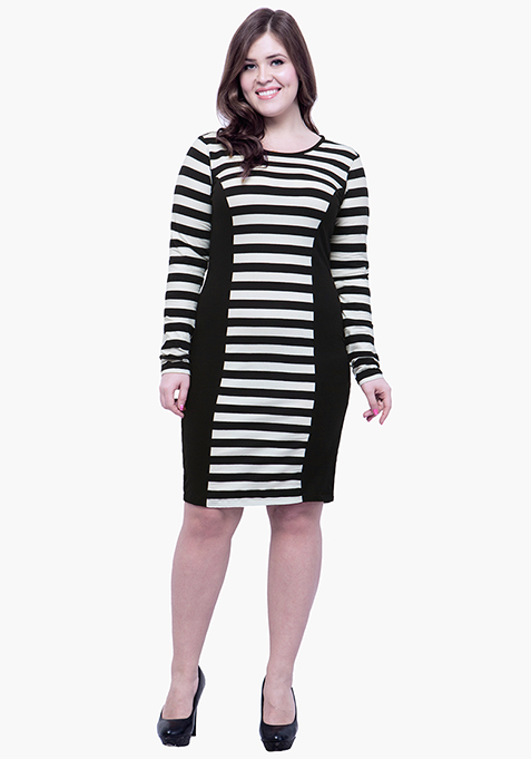 CURVE Panelled Bodycon Dress - Stripes