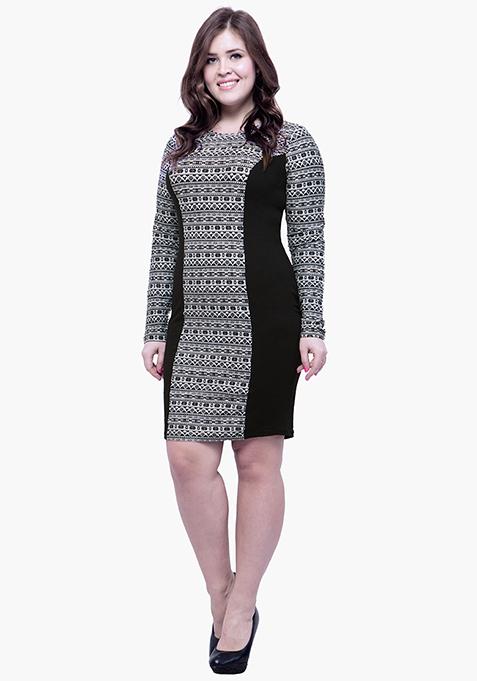 CURVE Panelled Bodycon Dress - Aztec