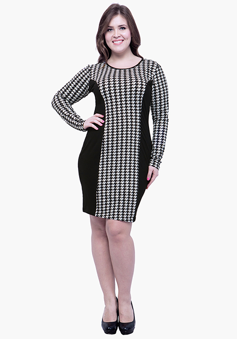CURVE Panel Dress - Houdstooth