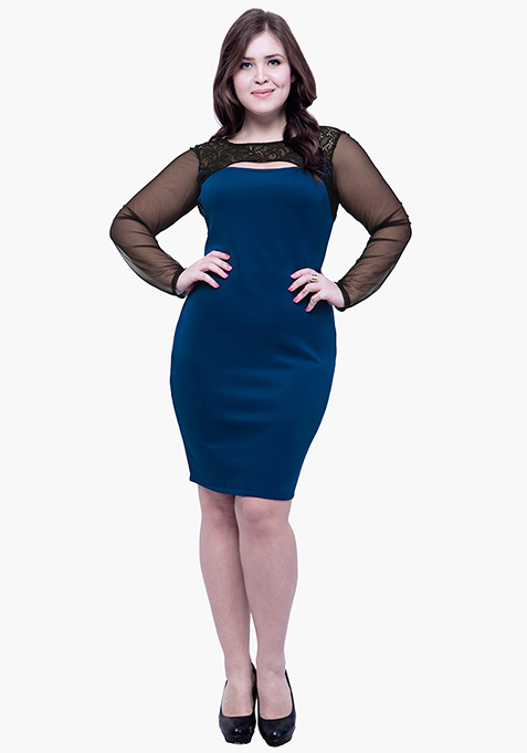 CURVE Lace Glaze Bodycon Dress - Blue