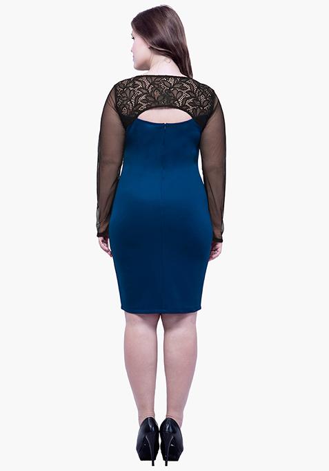 CURVE Lace Glaze Bodycon Dress - Blue