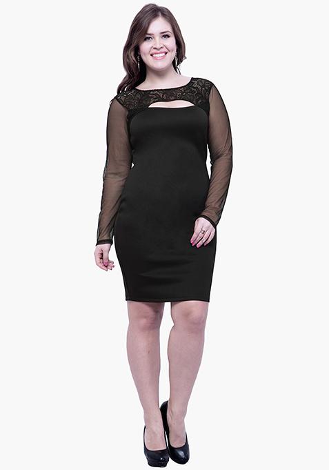 CURVE Lace Glaze Bodycon Dress - Black