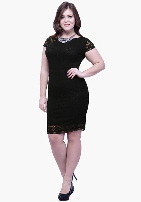 CURVE Lace Entice Bodycon Dress - Black