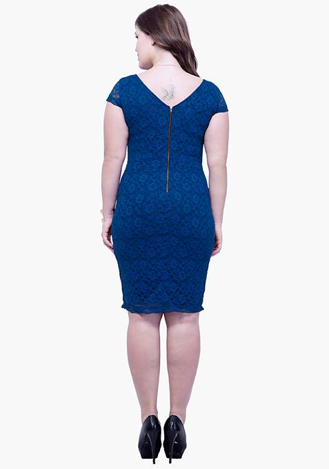 CURVE Lace Entice Bodycon Dress - Blue