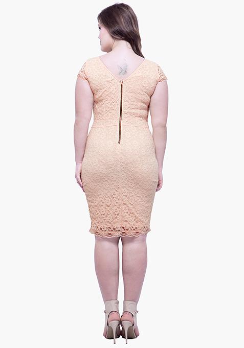 CURVE Lace Entice Bodycon Dress - Beige