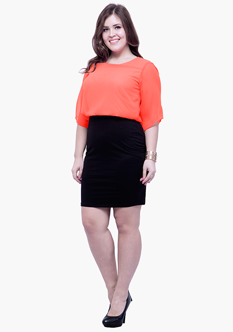CURVE Oomphy Blouson Dress - Coral