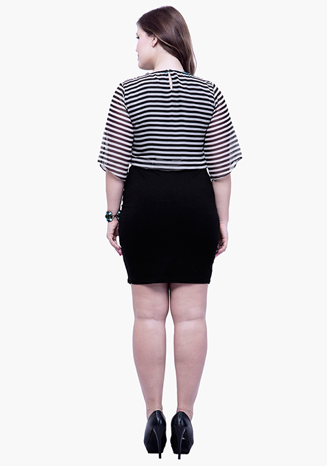 CURVE Oomphy Blouson Dress - Stripes