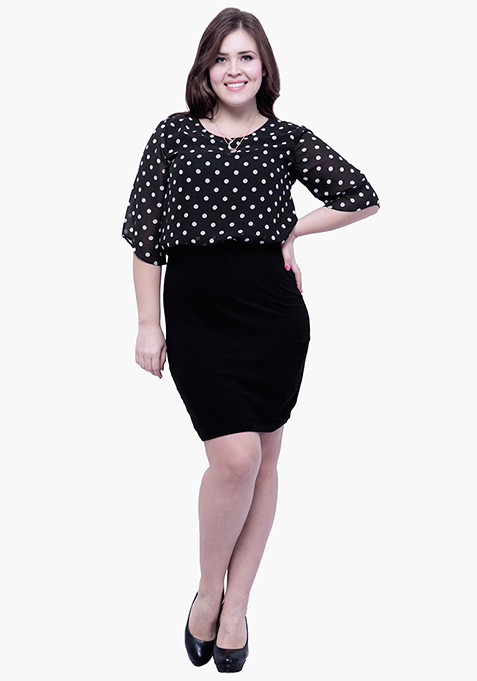CURVE Oomphy Blouson Dress - Polka