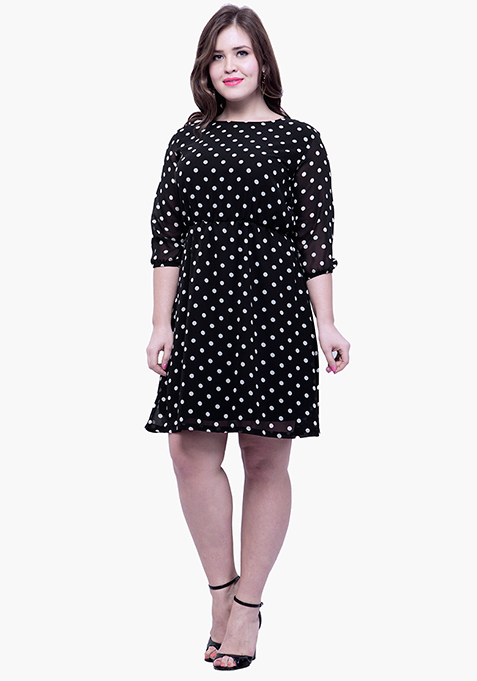 CURVE Flared Skater Dress - Polka