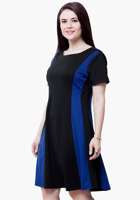 CURVE Blue Panel Skater Dress