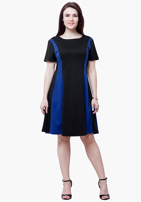 CURVE Blue Panel Skater Dress