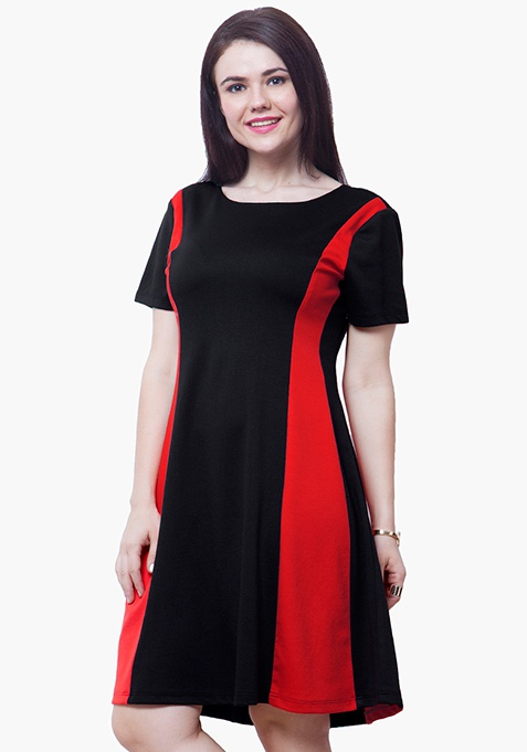 CURVE Red Panel Skater Dress